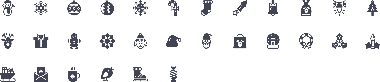 Christmas glyph icons