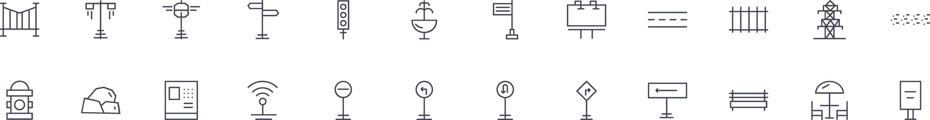 Street Elements Line Icons