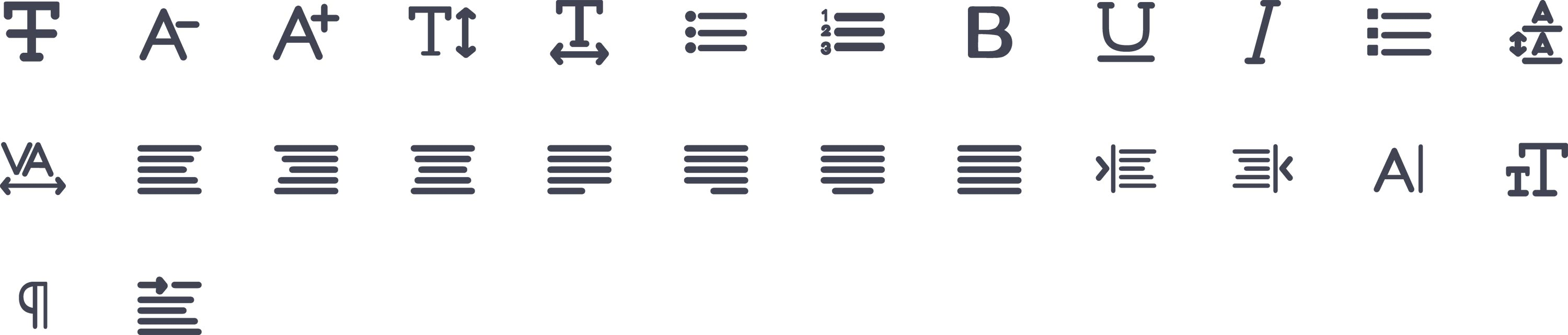 Text Format Glyph Icons