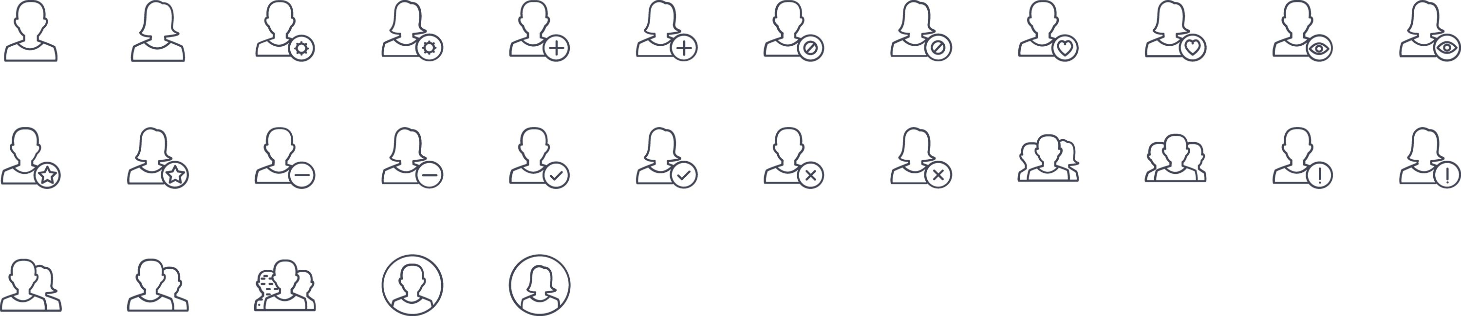 Users Line Icons