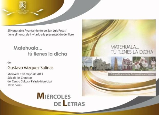Invitación libro Matehuala tu tienes la dicha