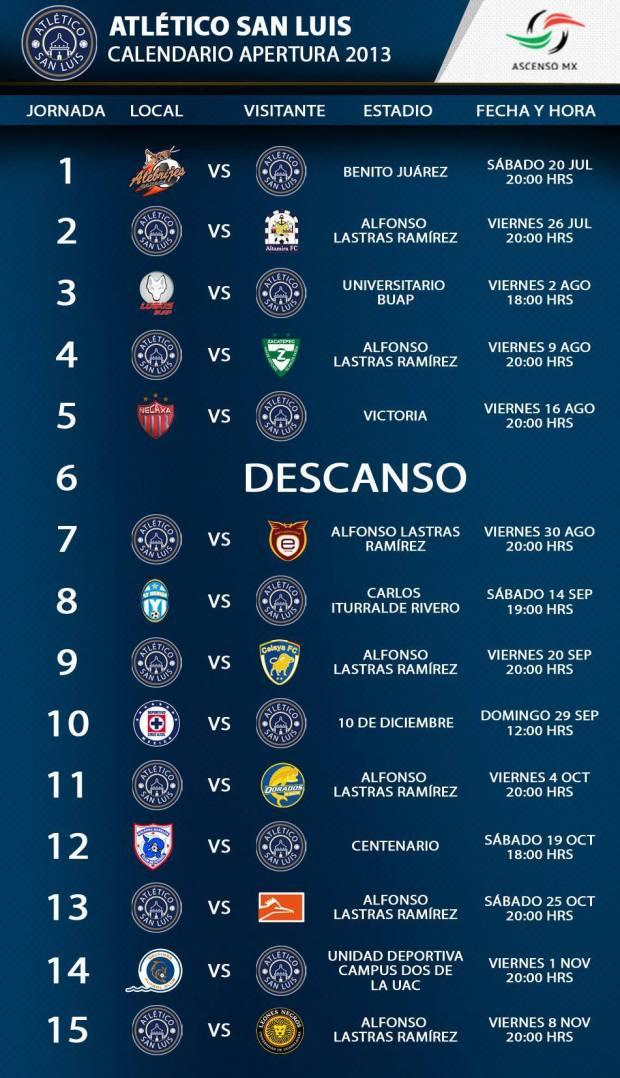 Calendario Apertura 2013 altetico san luis