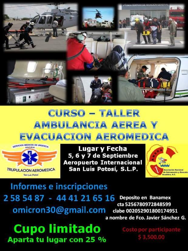 Curso- Taller  ambulancia aérea y evacuación aeromedica  @ Aeropuerto Internacional Ponciano Arriaga  | San Luis Potosí | San Luis Potosí | México