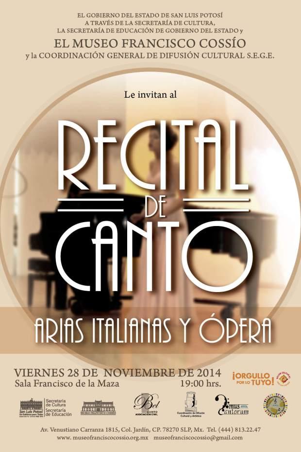 Recital de canto arias italianas y ópera @ Museo Francisco Cossío   San Luis Potosí   San Luis Potosí   México