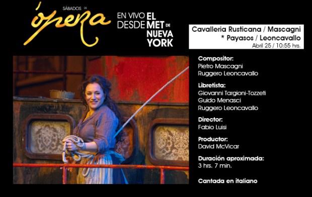 Cavalleria Rusticana - Mascagni / Payasos - Leoncavallo : Desde el MET de NY @ Centro Cultural Universitario Bicentenario