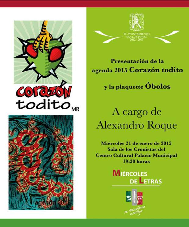 """Presentación de la agenda 2015 """"Corazón todito"""" y la """"plaquette Óbolos"""" @ Centro Cultural Palacio Municipal"""