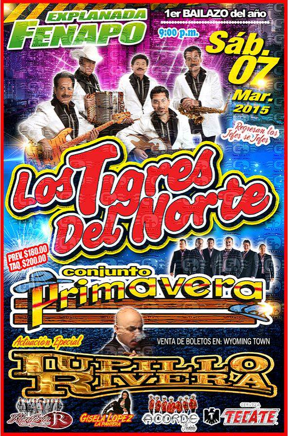 Los Tigres del Norte / Conjunto Primavera / Lupillo Rivera @ Explanada de la Fenapo | San Luis Potosí | San Luis Potosí | México