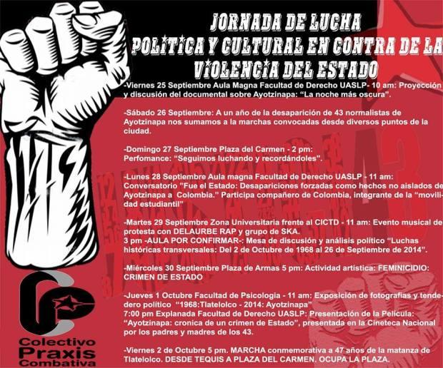 Jornada De lucha política y cultural en contra de la violencia del Estado