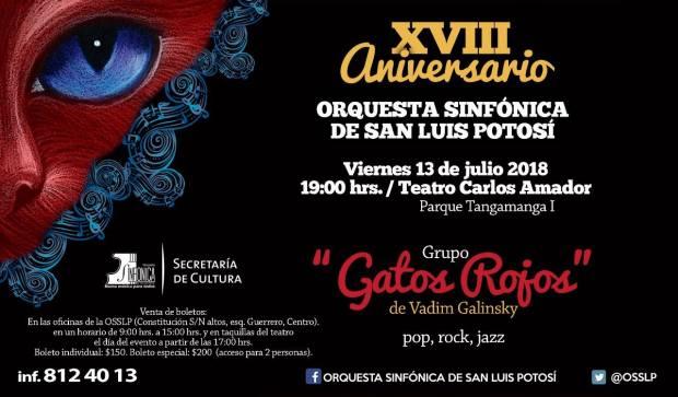 Concierto de la OSSLP y Gatos Rojos @ Teatro Carlos Amador | San Luis Potosí | San Luis Potosí | México