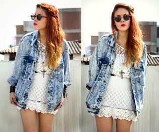 street-style-vintage-acid-wash-denim-jacket-lace