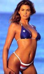 cindycrawfordamericanflagbikini
