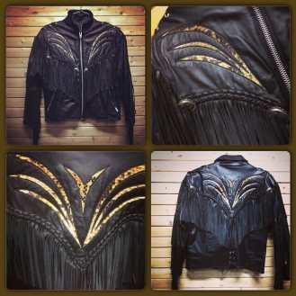 Amazing FRINGED Leather Motorcycle Jacket with SNAKESKIN inset design! Size 16 #metropolis #metropolisnycvintage #metropolisvintage #leather #leatherjacket #snakeskin #motorcyclejacket #bikerjacket #glammetal