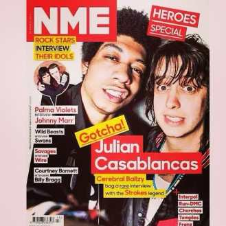 Two of our favorite customers on the cover of the NME #NME #thestrokes #honortitus #juliancasablancas #cerebralballzy #tbtchat #huffpoststyle
