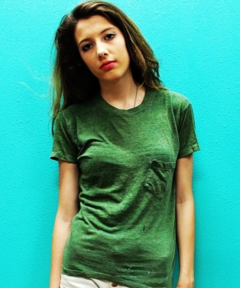 vintage dark green 70s 80s paper thin pocket t shirt small-f22244