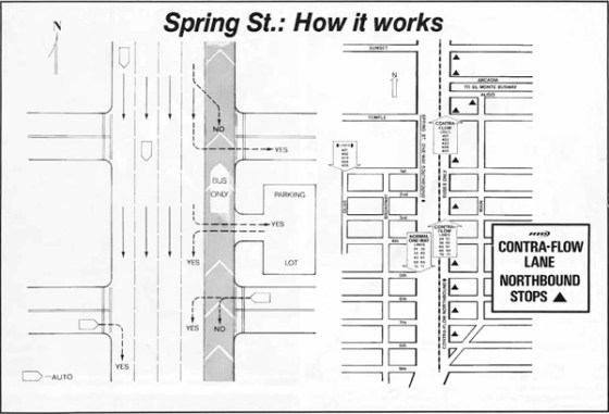 Spring Street contraflow map