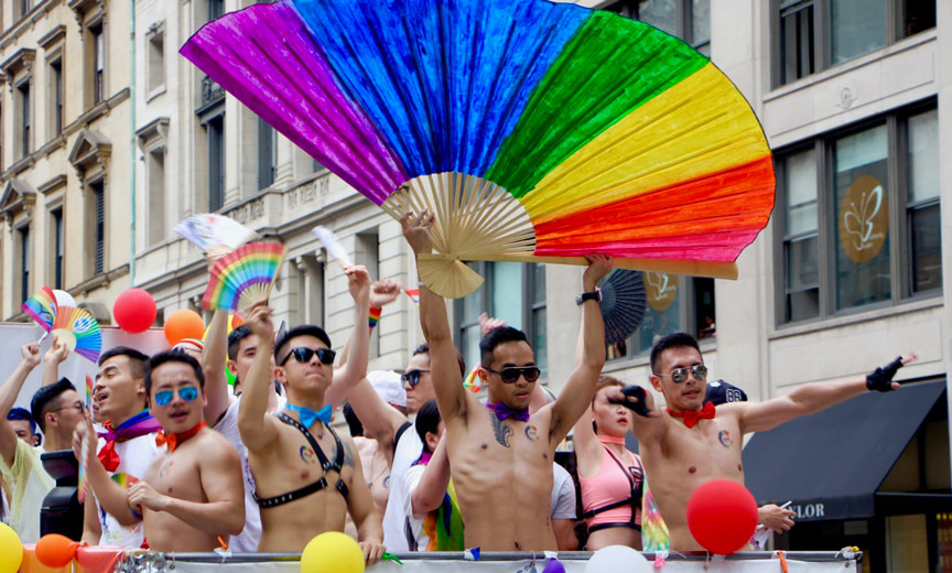 asians at nyc pride march