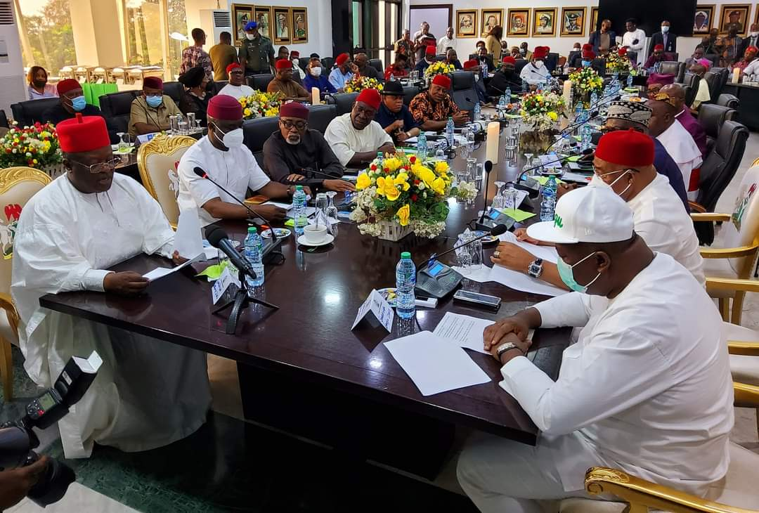 South-East governors and leaders at their emergency meeting in Enugu... on Tuesday October 5, 2021