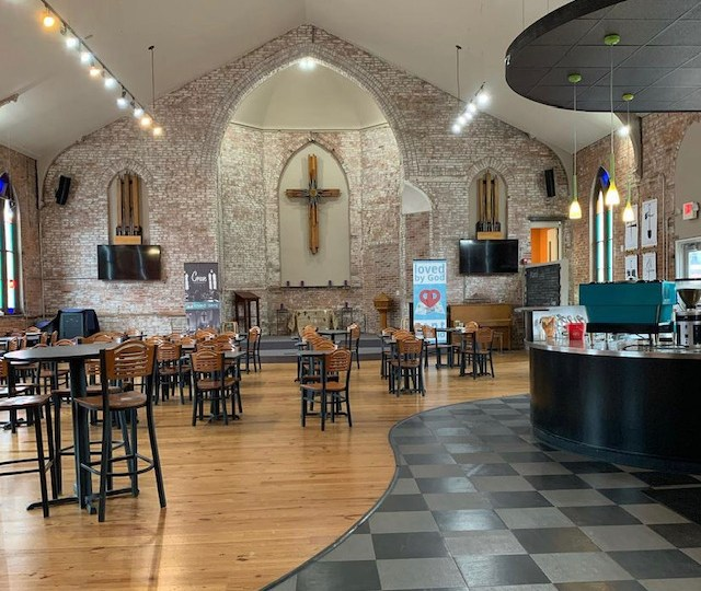 Church, coffeehouse coexist in Gate District building