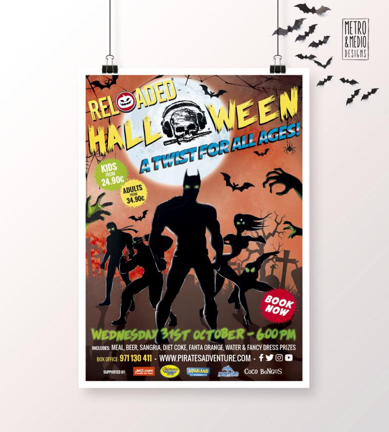 Poster para fiesta de Halloween de Pirates Reloaded en Magaluf con superhéroes con fondo de cementerio