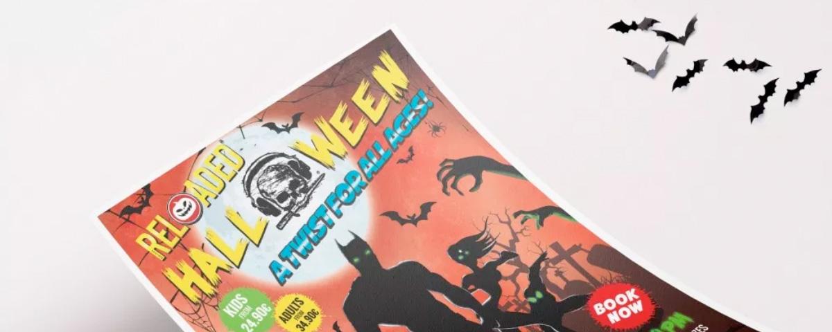 Detalle de flyer para fiesta de Halloween de Pirates Reloaded en Magaluf con superhéroes con fondo de cementerio