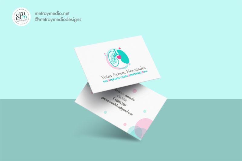 Logo: Yaiza Acosta - Fisioterapia Cardiorrespiratoria, tarjeta de visita