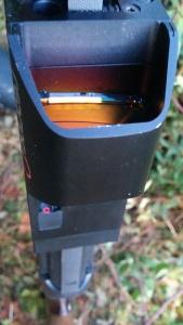 Rengas heijastetaan lasiin tähtäimen takaosasta