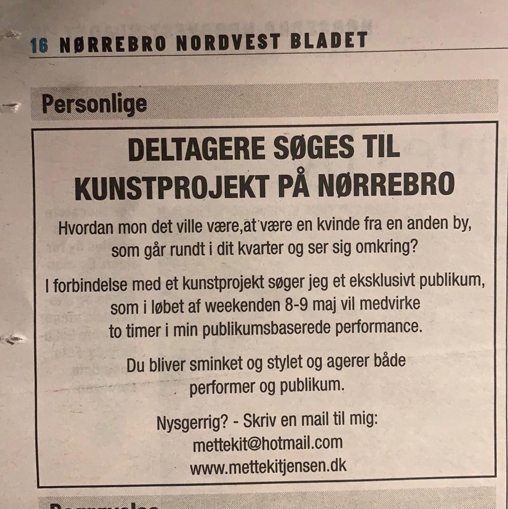 Jagten på publikum er gået ind til deltagerbaseret performance på Nørrebro   8-9 maj