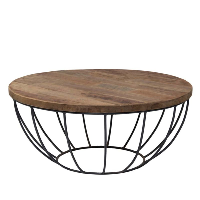 table basse pied metal plateau teck massif recycle o80cm