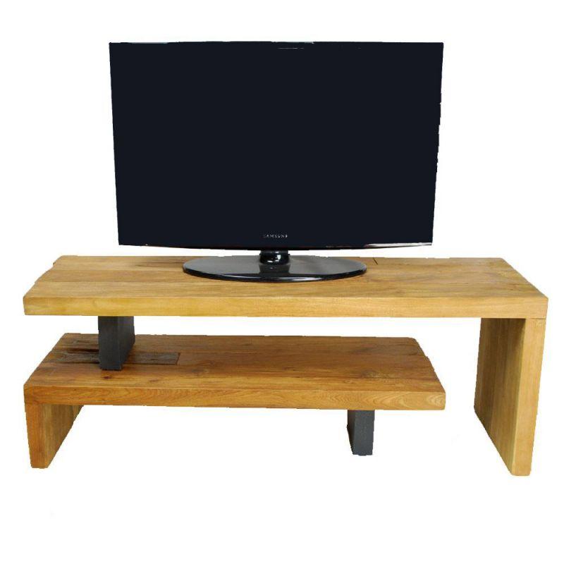 meuble tv teck et metal recycles celebes 120cm