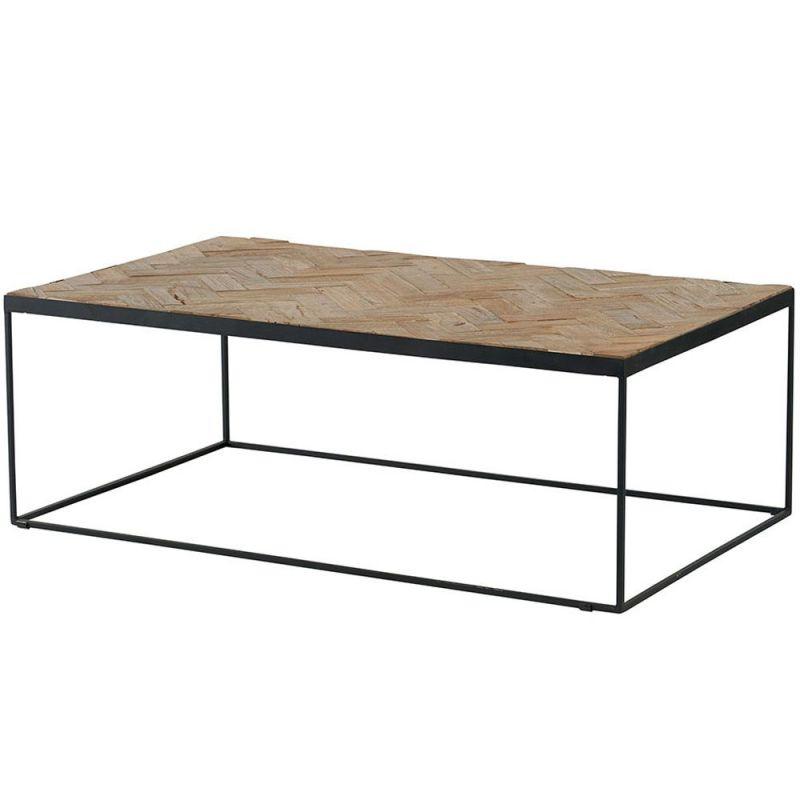 table basse teck et metal retro 115cm mosaique