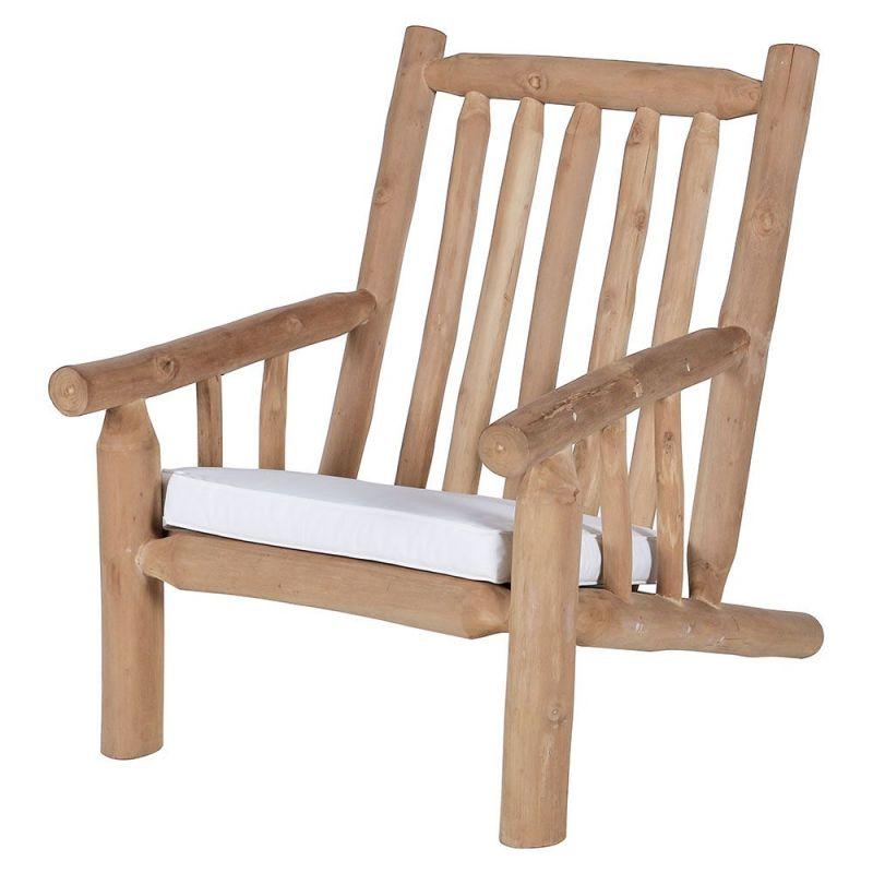 fauteuil relax de jardin branches de teck 66cm