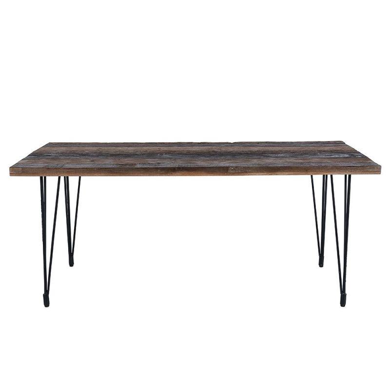 table repas bois recycle vintage 180cm pieds metal