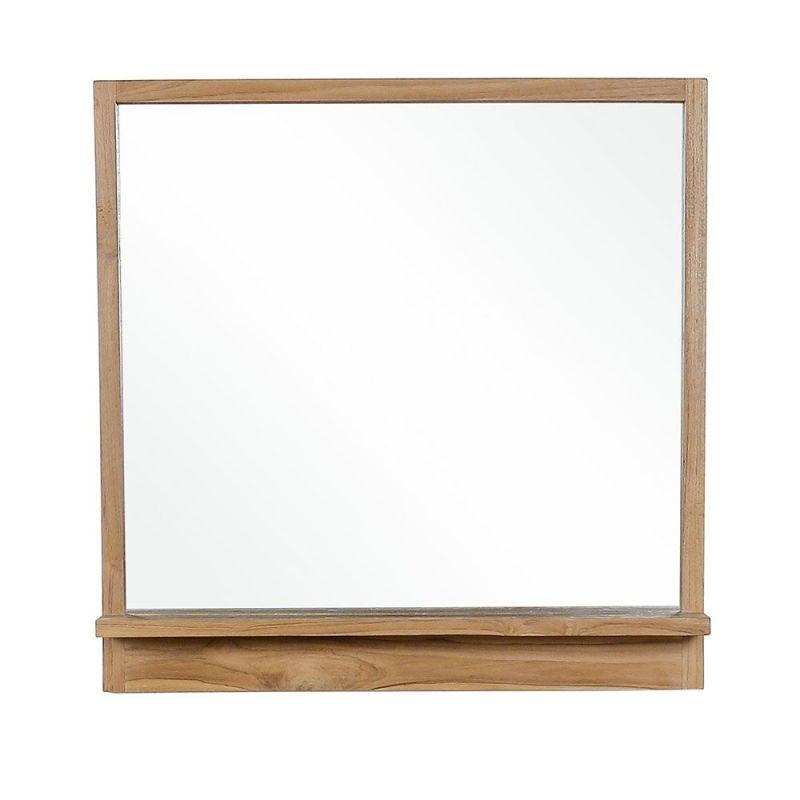 Miroir Salle De Bain Teck Avec Tablette 80cm Mandi