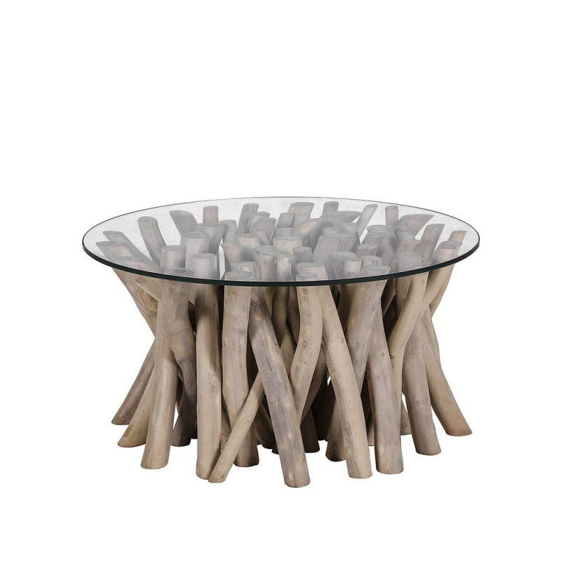 table basse branche de teck branche o80cm