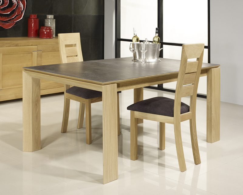 table rectangulaire gaspard realisee en chene plateau ceramique 1 allonge a l italienne de 90 cm 160x110 seulement 1 disponible