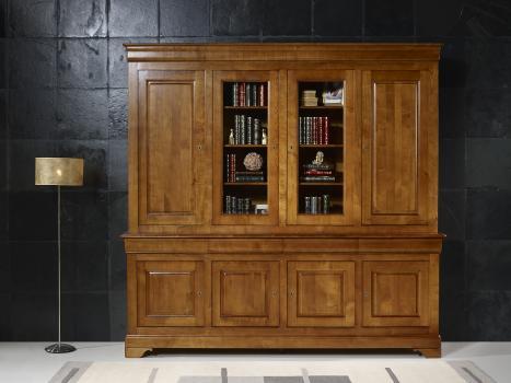 bibliotheque 2 corps 4 portes anna realisee en merisier massif de style louis philippe portes bois de chaque cote meuble en merisier massif