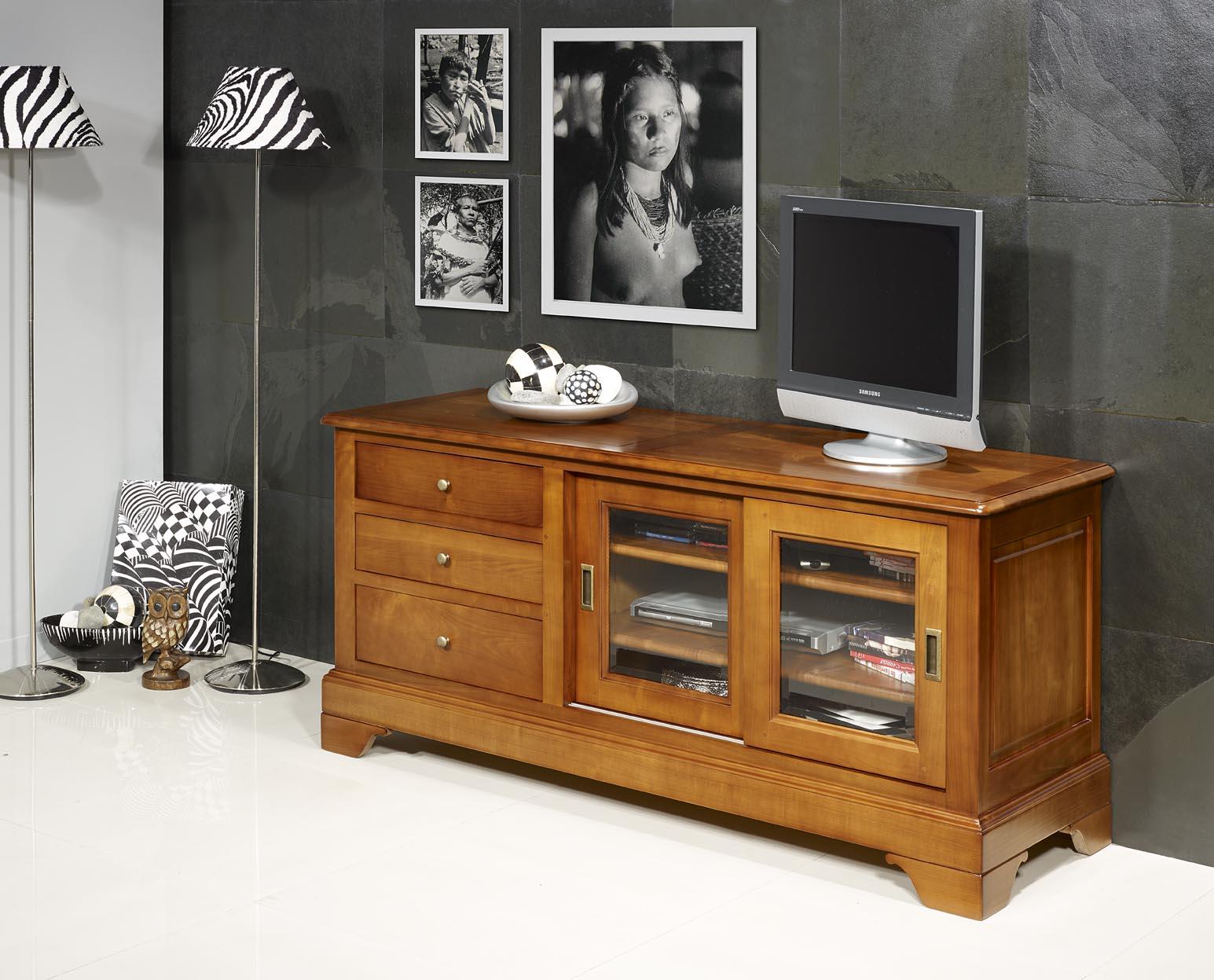 meuble tv 16 9eme e en merisier massif