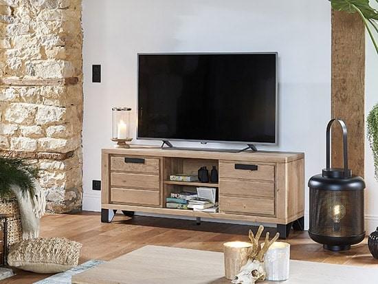 meuble tv bois metal industriel hudson