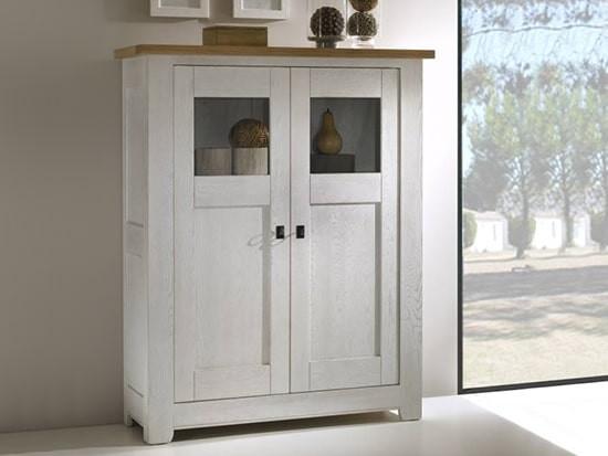 meuble vitrine blanc style campagne
