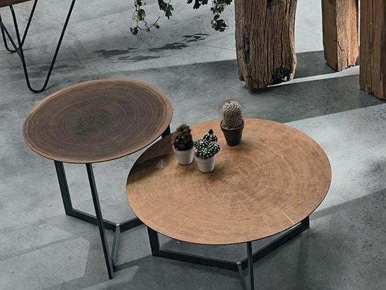 table basse bois metal effet tron d
