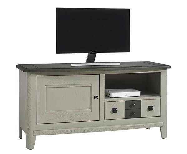 petit meuble tv grise et noir campagne chic seraphine min meubles duquesnoy