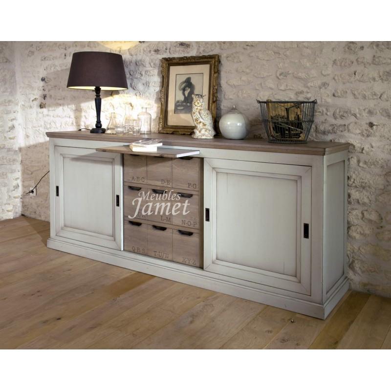bahut en bois 3 portes coulissantes meubles jamet