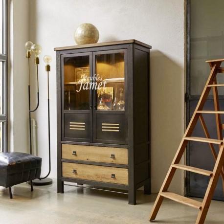 vitrine style industriel chene et metal meublesjamet
