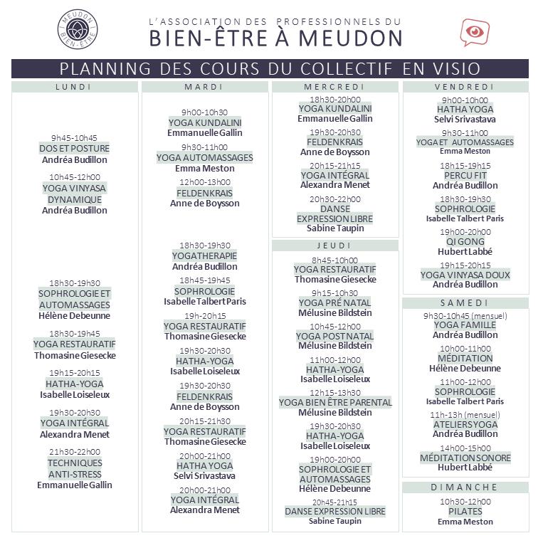 Planning des cours bien-être en visio zoom Meudon