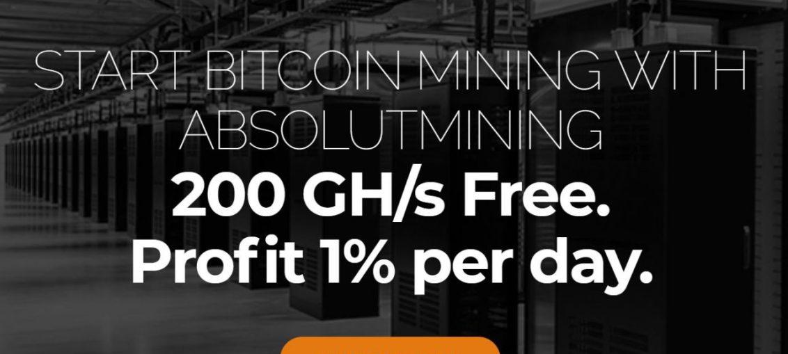 AbsolutMining está oferecendo em anúncio uma oferta exclusiva. Ao Comprar hashpower, ganhe mais (10% GHs Free).