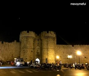 Rhodes old town walls night