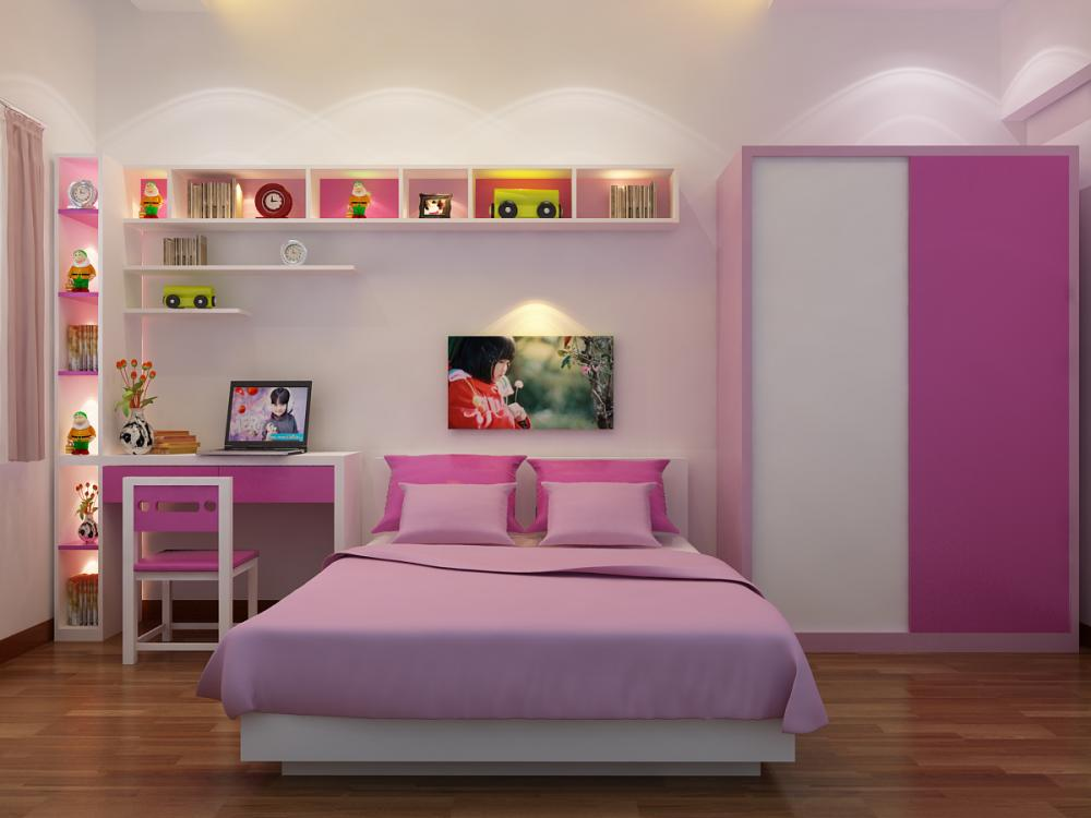 غرفة نوم للبنات بسيطة وجذابة