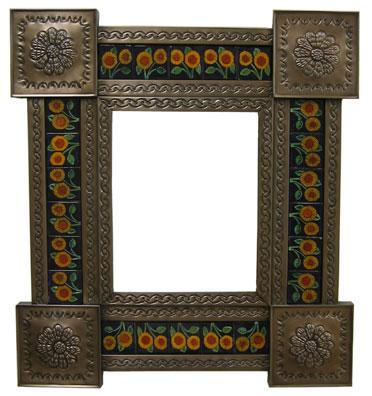 mexican tin mirrors with talavera tile