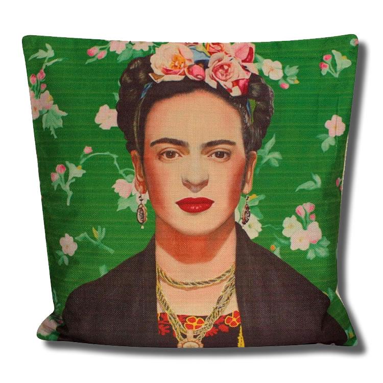 frida kahlo portrait green background cushion cover