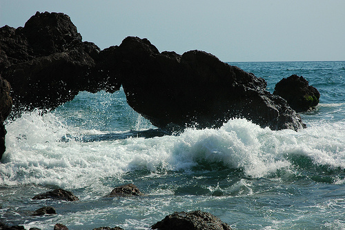 Water under the bridge, little rock arch, splash of the Pacific Ocean, South Mazatlan, Sinaloa, Mexico